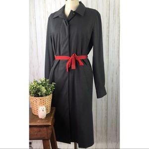Liz Claiborne Gray Suit Dress Button Front Pockets